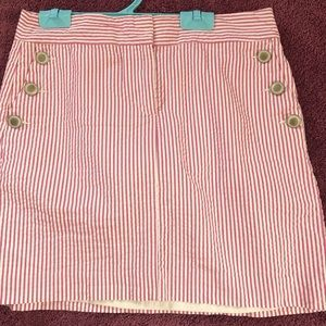 Ann Taylor Loft pink/white seersucker skirt. Sz 8.